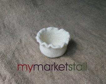 Ruffled Felted Wool Bowl - Original Design - Shown in Fisherman White