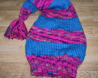 Neon blue and pink stocking hat hand knit