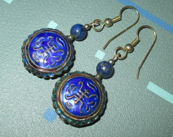 Vintage Blue Enamel Cloisonne Chinese Character Motif Dangle Earrings