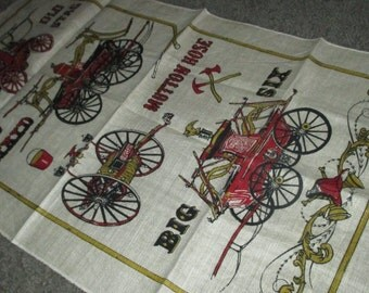 Vintage Old Fashioned Fire Wagon Truck Kitchen Linen Tea Towel