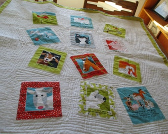 Personalized Farm Friends Baby Quilt for Boy or Girl Crib Size