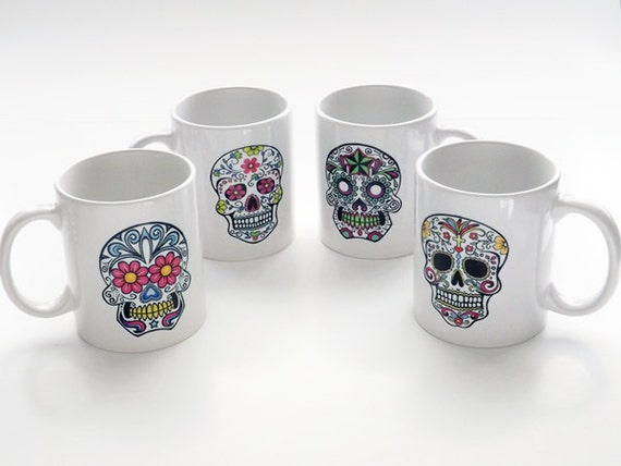 Sugar Skulls coffee Mugs Cups gift Day of the Dead Dia de los Muertos home kitchen decor goth halloween calavera party favor folk art shower