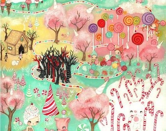 Candy Land Print Cute Cupcake Girl Forest Animal Wall Art Children---Candyland