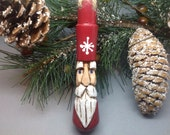 Carved Santa Christmas Ornament Sale, Antique Wooden Handle, Upcycled Primitive Santa