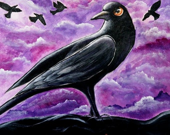 Original Crow Halloween painting by ANGIECLEMENTINE