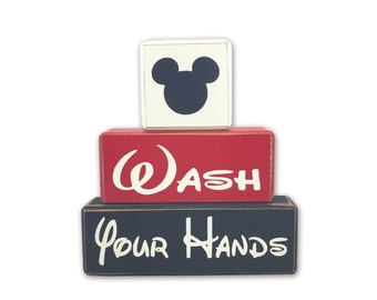 Wash your hands Mickey Minnie primitive wood sign blocks distressed rustic decor Disney bathroom Mickey bath