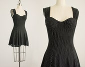 90s Vintage Black Polka Dot Bustier Skater Mini Dress / Size Small