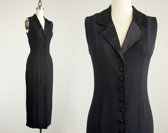 90s Vintage Black Button Down Maxi Dress / Size Medium