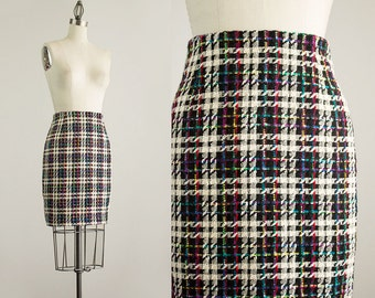 90s Vintage Ann Taylor Black And White Rainbow Plaid Wool Mini Skirt / Size Small