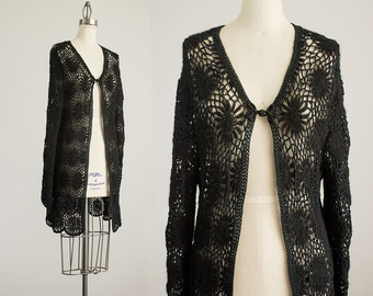 70s Vintage Black Open Knit Crochet Boho Style Floral Sweater Coat / Size Small / Medium