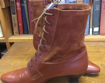 Vintage Saks Fifth Avenue Lace Up Granny Boots Size 10