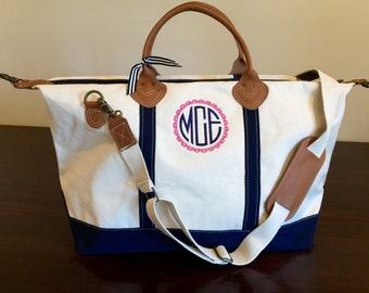 Large Canvas Weekender Carry On Duffle Bag Personalized Custom Monogram Gift