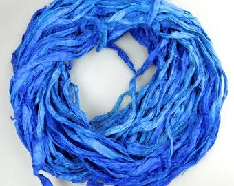 Silk Sari Ribbon, Sari Ribbon, blue sari ribbon, Sapphire blue ribbon, royal blue silk Sari Ribbon