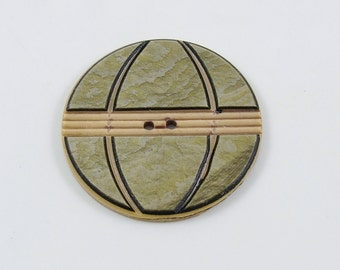 Vintage Large Carved Celluloid Wafer Button