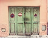 "French wall art - wooden doors - pastel peach mint green - coral pink wall art - Provence France - 11x14 travel photography ""Celadon Doors"""