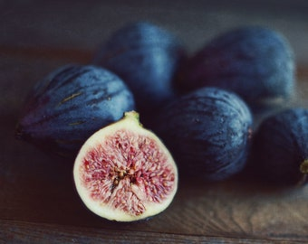 "Food still life photography fig art print rustic kitchen decor fruit wall art ""Figs One"""