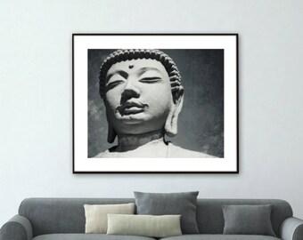Buddha Wall Art Meditation Room Decor Yoga Room Large Wall Art Zen Black White Gray Print 'Buddha'