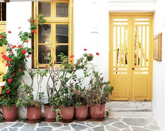 "Greece Photography Yellow Pastel Door Window Print Large Wall Art Travel Photography ""Yellow Patio"""
