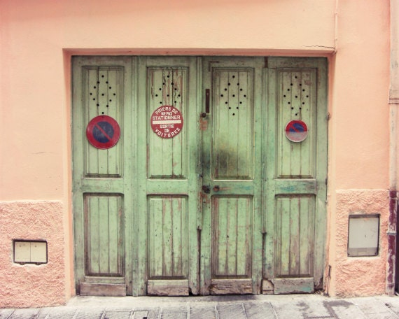 French street wooden doors coral pink mint green wall art Provence France travel photography - Celadon Doors