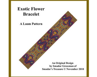 Bracelet Beading Pattern, Loom Stitch / Exotic Flower / Intricate Design for Loom. Instant Digital Download PDF Jewelry Making Loom Pattern