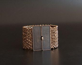 Bronze Textured Cuff Bracelet with Wide Rectangular Brass Box Clasp. Sparkling Statement Cuff Bracelet. Bold Bracelet w Faceted Beads S-339