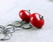 Red Glass Earrings   Oxidized Silver  Long Dangle Earrings Bright Handmade Jewelry Sterling Silver Colored Glass Jewelry