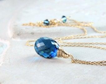 Blue Drop  Necklace  Gold Filled  Quartz Necklace  Gemstone  Jewelry Deelicate Gold Jewelry Briolette Pendant Blue Pendant Handmade