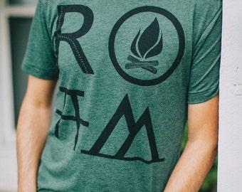 ROAM t shirt - tshirt men, mens graphic tee, camping print on forest green, wanderlust shirt for him, gift for travelers