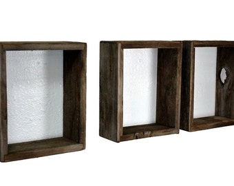 Shadow boxes from repurposed wood, very rustic wall shelves