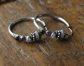 Sterling Silver Hoop Earrings, Purple Amethyst, CZ, and Black Onyx