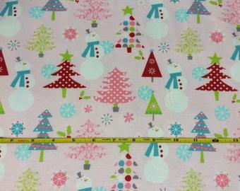 NEW Riley Blake winter wonderland on pink cotton Lycra  knit fabric 1 yard