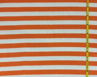 "NEW Riley Blake orange and white 1/2"" stripe on cotton Lycra  knit fabric 1 yard"