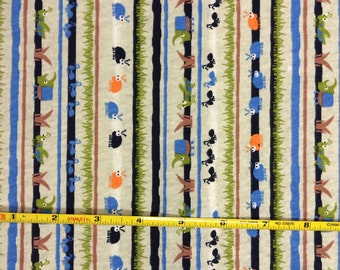 Marching bugs on vertical 100% cotton  jersey knit fabric  1 yard