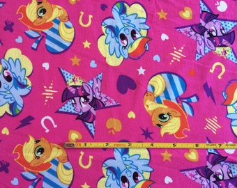 "NEW MLP My Little Pony on hot pink cotton lycra knit fabric 96/4 58"" wide."