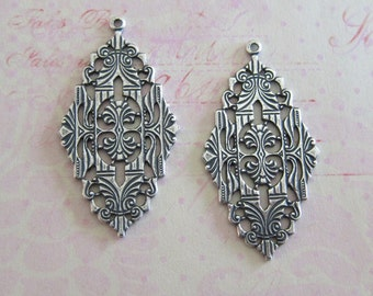 2 Silver Filigree Drop Charms 3721