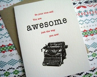 Letterpress Card - Awesome