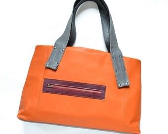 Leather Laptop Tote, Everyday Bag Leather, Shoulder Bag, Large Leather Purse, Womens Work Bag, Handbag - The Grayson Bag in Orange