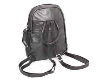MINI black gray leather 80s BACKPACK mini small UNISEX purse knapsack