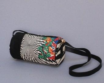 VERSACE genuine black leather 80s 90s OP ART floral fabric barrel mini purse