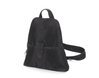 GRUNGE black nylon 80s 90s BACKPACK GOTH mini unisex convertible knapsack