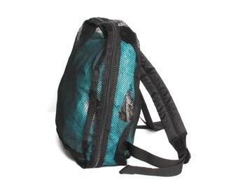 GRUNGE black mesh 80s 90s BACKPACK health goth mini UNISEX knapsack