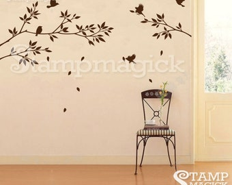 Tree Branch Birds Wall Decal Stickers - branch vinyl wall decal decor graphics nursery tree - K021