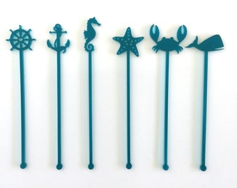 Nautical Party Drink Stirrers - Set of 6 Laser Cut Acrylic Stir Sticks
