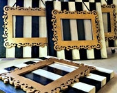 ON SALE 4x6 Photo Frame on Canvas - Black and White Striped - Burtonesque - Wall Hanging - Frame - Unique - Gifts Under 40