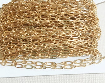 Bulk 300ft spool of Light Gold plated Long and Short chain 4X2mm soldered links, gold bulk chain