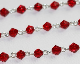 3ft of silver plated wire with red glass rondelled beads, red glass beaded chain