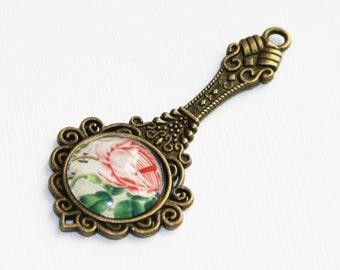 1 Glass picture cabochon with antique brass pendant, zinc alloy pendant 64x29mm Flower
