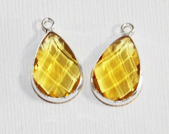 2 glass faceted teardrop pendant with silver frame, Yrllow Citrine color glass drops 22x14mm, framed glass teardrops