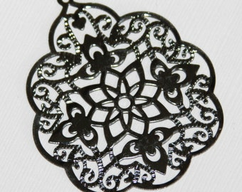 10 pcs Gunmetal  filigree pendant 48x58mm, black filigree drops