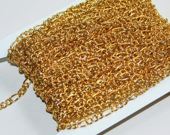 45 ft of Gold plated Figaro Chain 5x8.6mm - Open Link